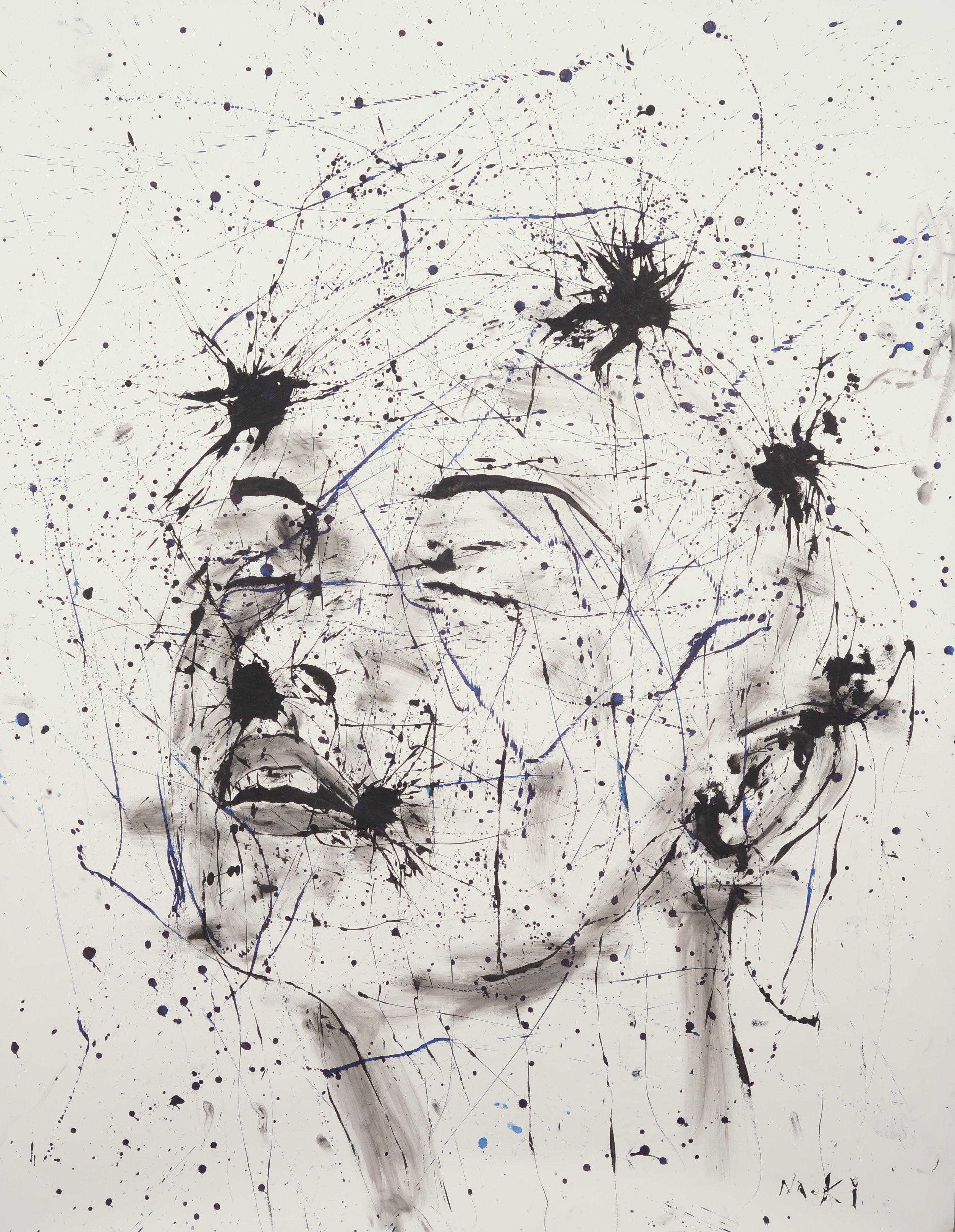 Naoki Fuku, Study of the Human Mind - Calm. ink on Paper, 100 x 210cm 2016