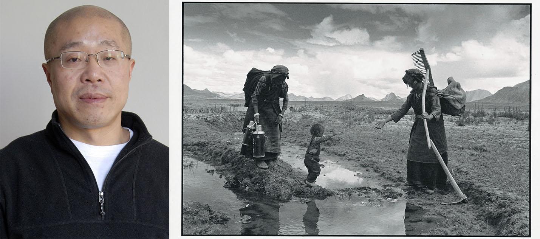 Left: Lu Nan's portrait © Lu Nan Right:A Family Finishing Work for the Day,Tibet,1999 © Lu Nan