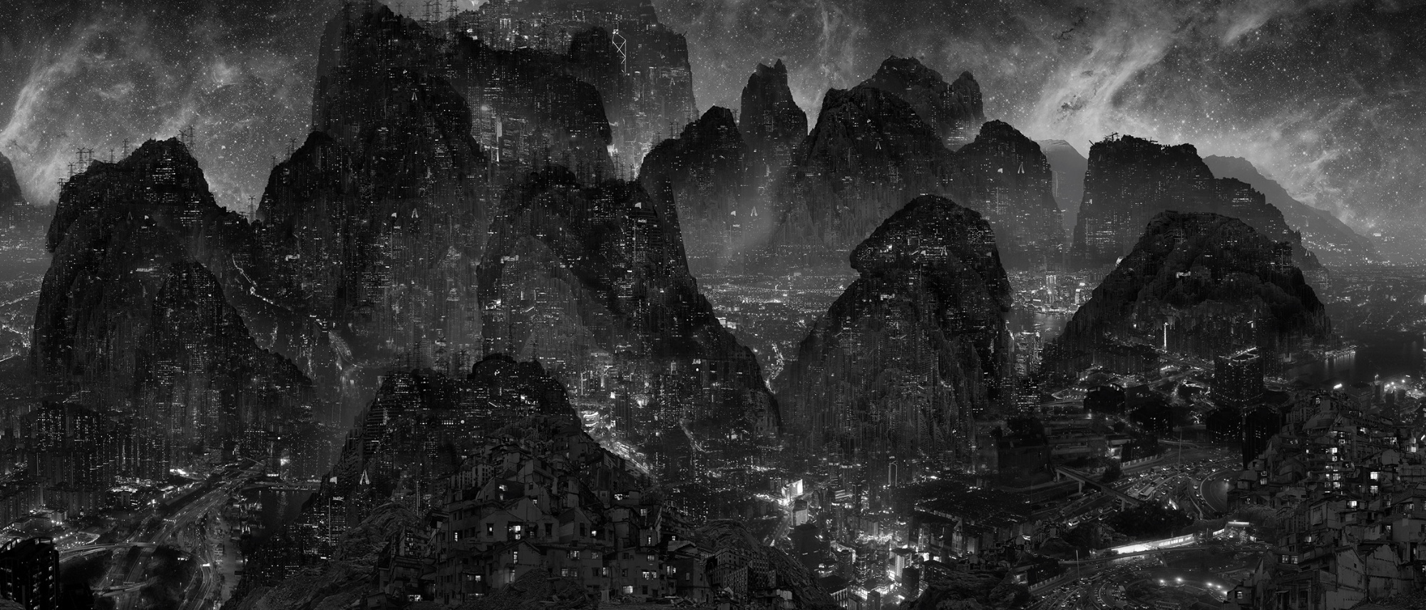 Yang Yongliang, Journey To The Dark, 2017 ©  Yang Yongliang / Artwork exhibited by PARIS-BEIJING