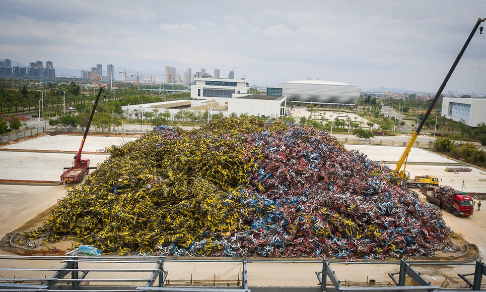 Thousands of share bikes laid to rest in the south-eastern Chinese city of Xiamen. Photograph: Chen Zixiang for the Guardian