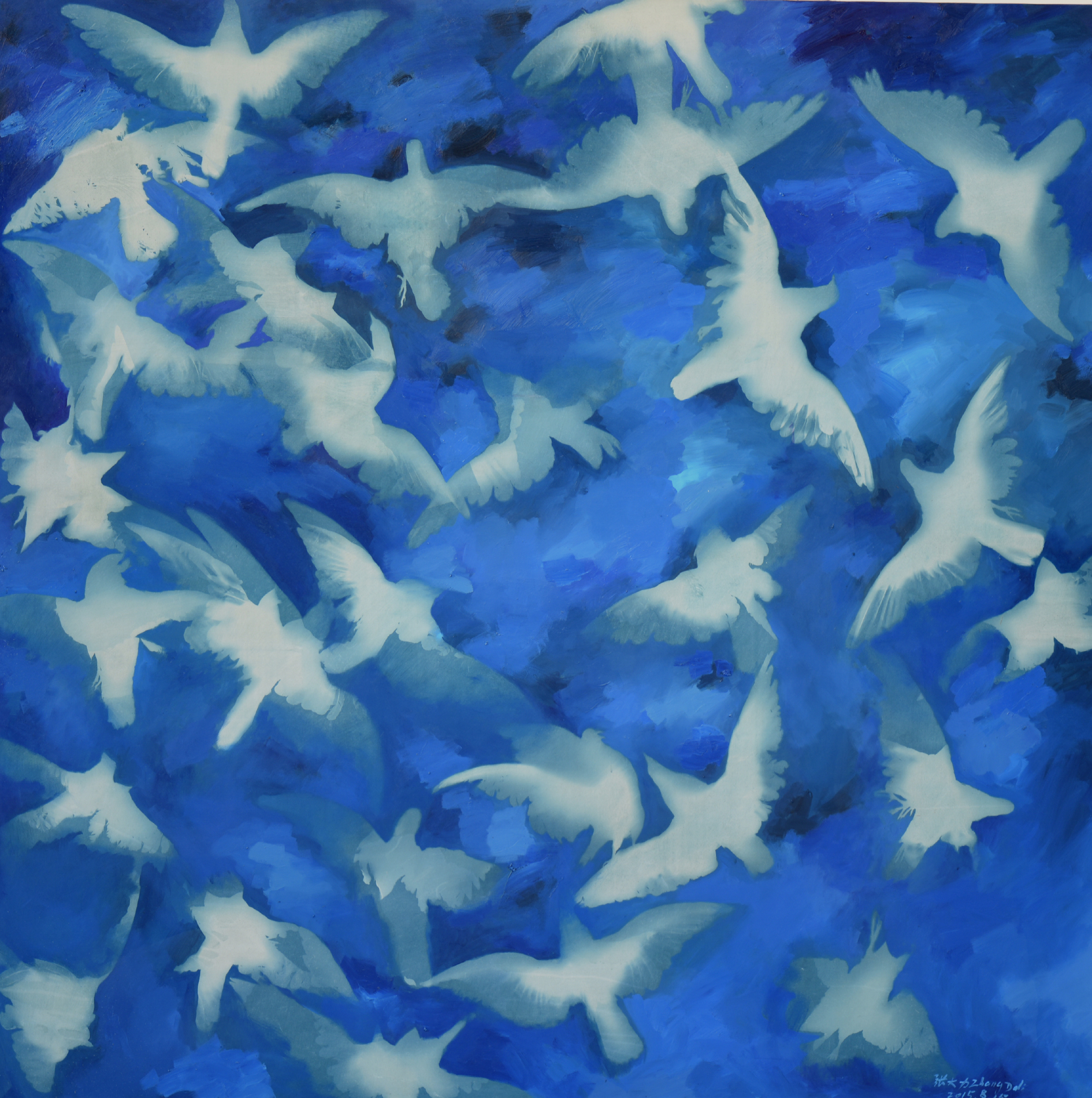 Blue Blue Sky, Cyanotype and Oil on Canvas, 197 x 197 cm, 2015   Photo Copyright Artist Zhang Dali and Courtesy of Pékin Fine Arts