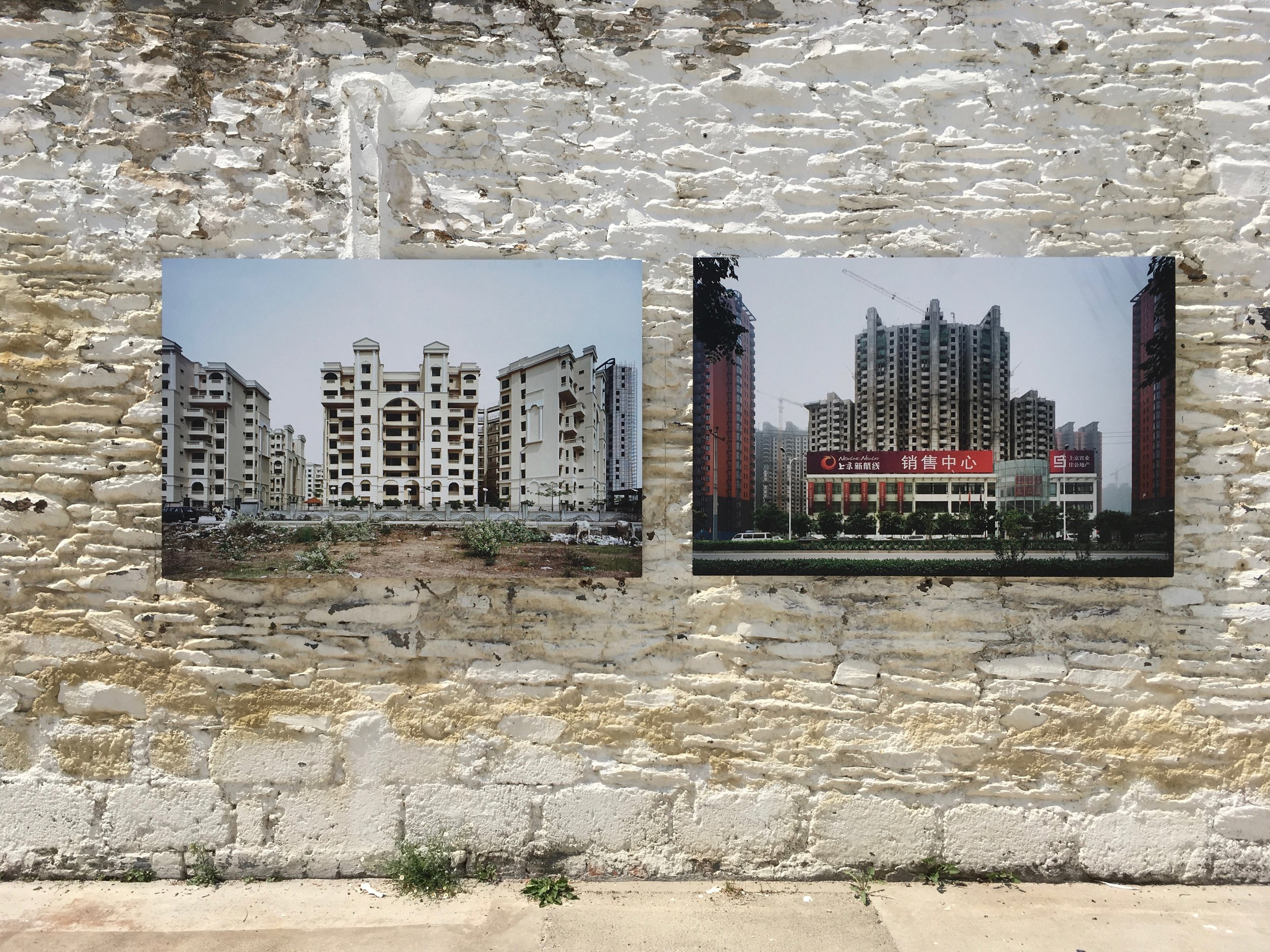 """Patrick Tourneboeuf, """"Next City"""" series, exhibition view at Festival Photo La Gacilly 2018© Marine Cabos-Brullé"""