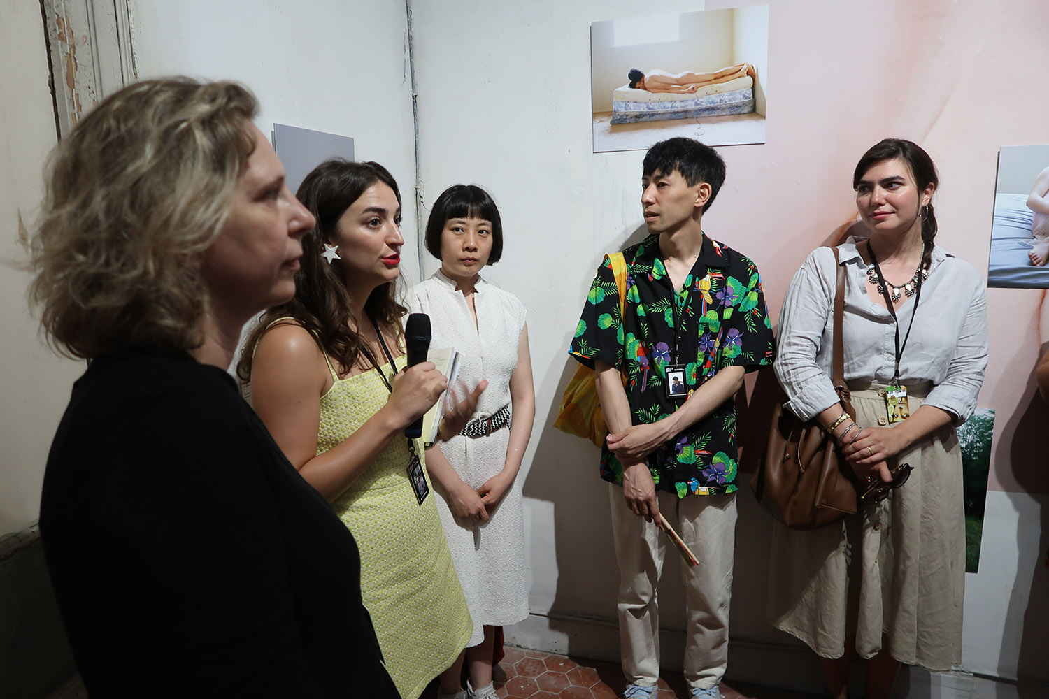 From left to right: Bérénice Angrémy (Jimei x Arles International Photo Festival Art Director), Holly Roussell (Pixy Liao's exhibition Curator), Pixy Liao, Moro (Pixy's partner), and Victoria Jonathan (Jimei x Arles International Photo Festival Art Director) © Marine Cabos-Brullé