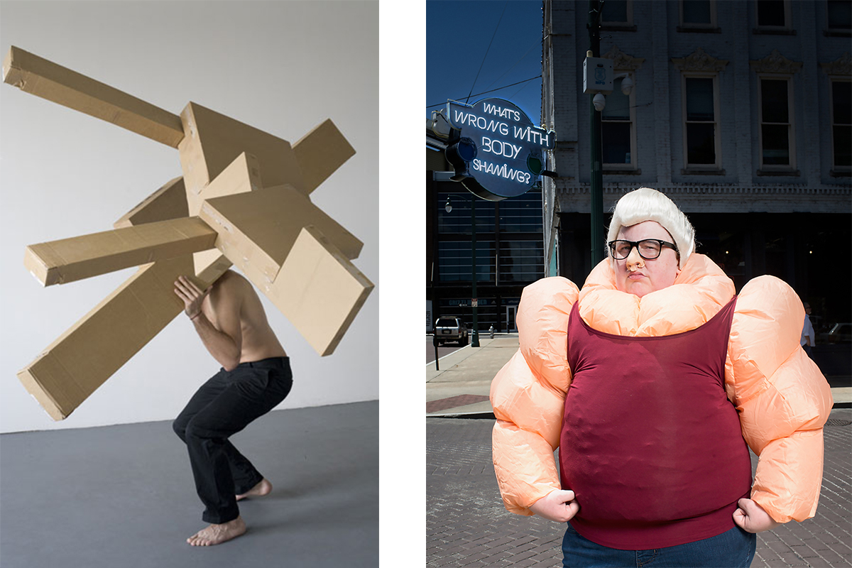"""Left: Recomposition N°1, from the series """"Recomposition"""" © Denis Darzacq Right: From the series """"The Bully Pulpit"""" © Haley Morris-Cafiero"""