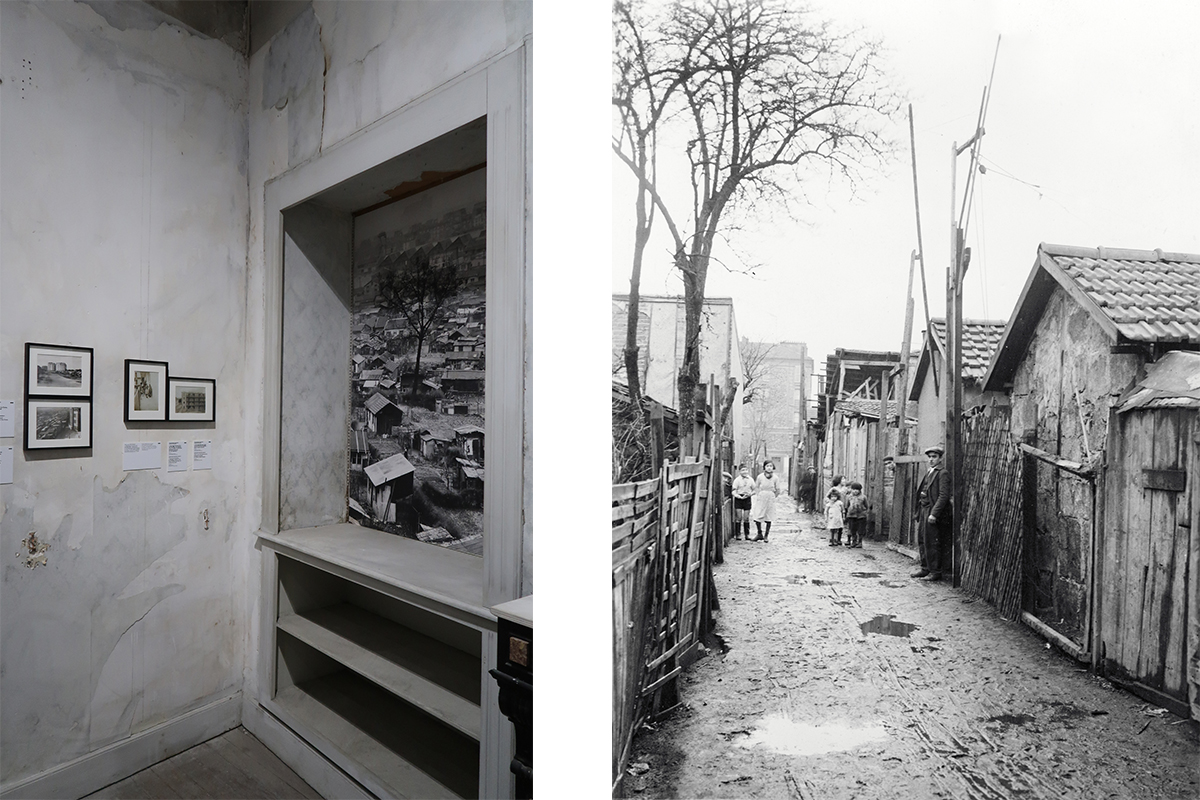 Left: The Zone: At the Gates of Paris exhibition view © Marine Cabos-Brullé Right: L. Chifflot,  The   Zone, Gentilly , France, ca. 1939.
