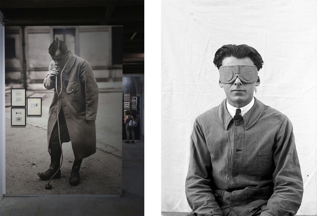 "Left: ""The Saga of Inventions"" exhibition view © Marine Cabos-Brullé Right: National Scientific and Industrial Research and Inventions Office, Louis Lapicque's visual field shutter goggles, December 1926. CNRS collection, B_6127. ( The Saga of Invention  exhibition)"