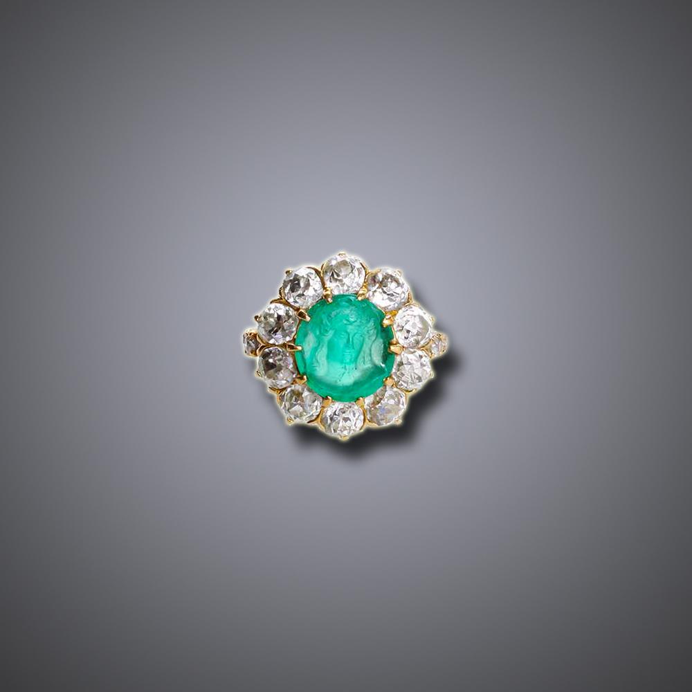 Emerald Cameo Ring