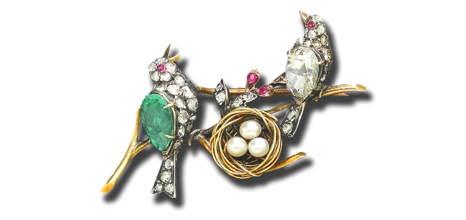 ANTIQUE EMERALD AND DIAMOND BIRD NEST BROACH