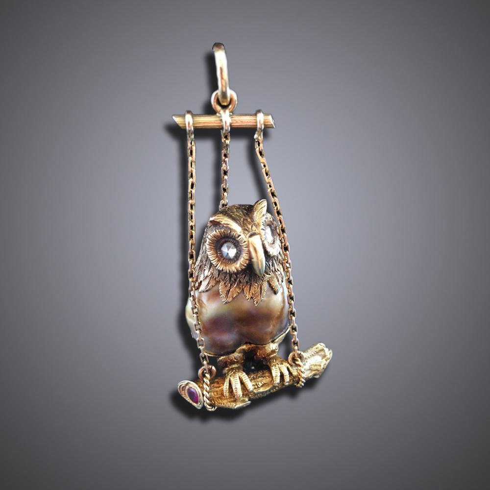 Natural Pearl Owl Pendant