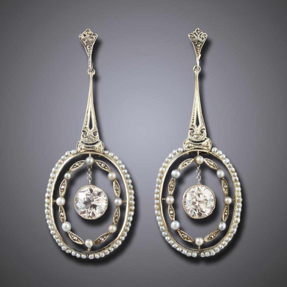 Belle Epoch Diamond Pearl Earrings