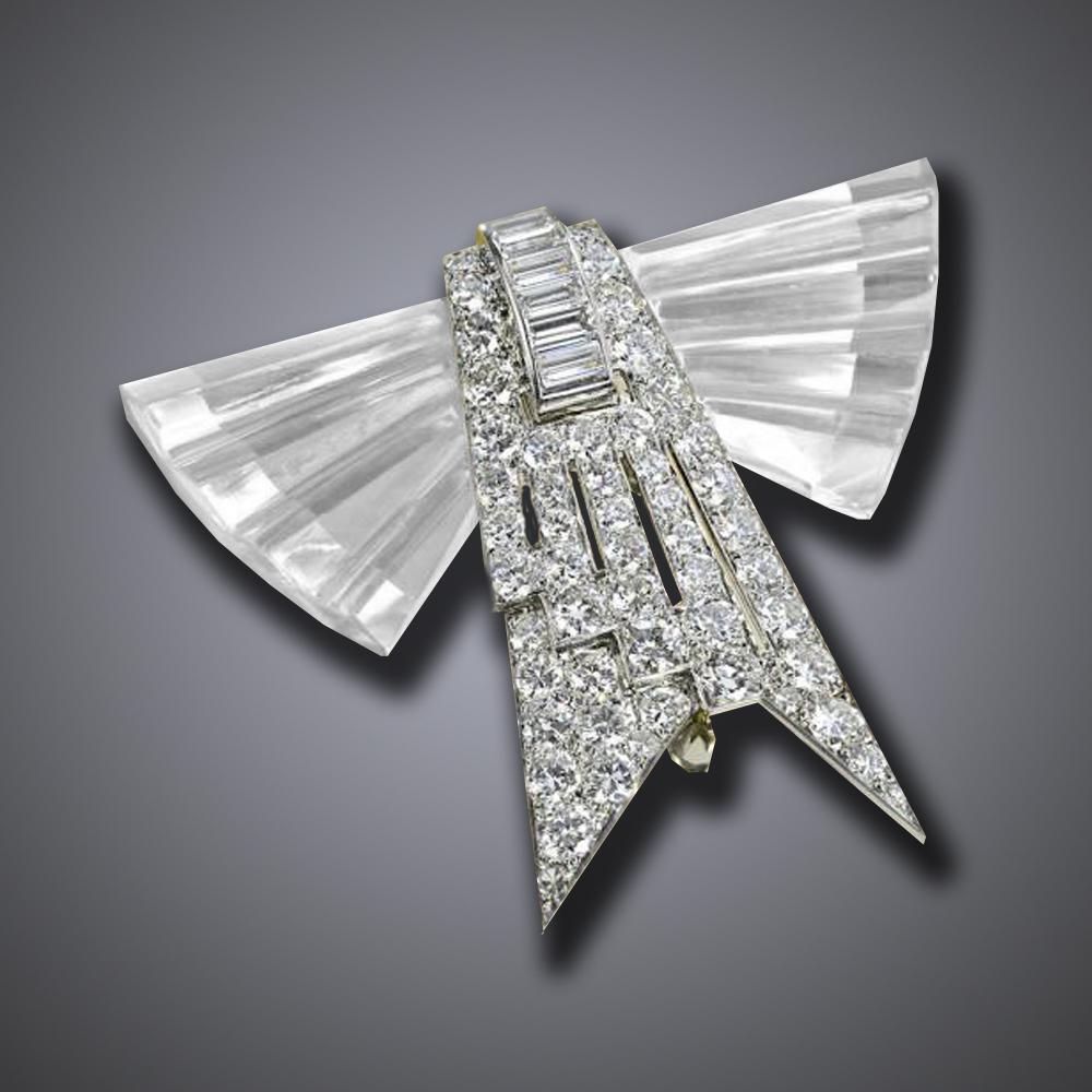 Art Deco Rock Crystal Diamond Broach
