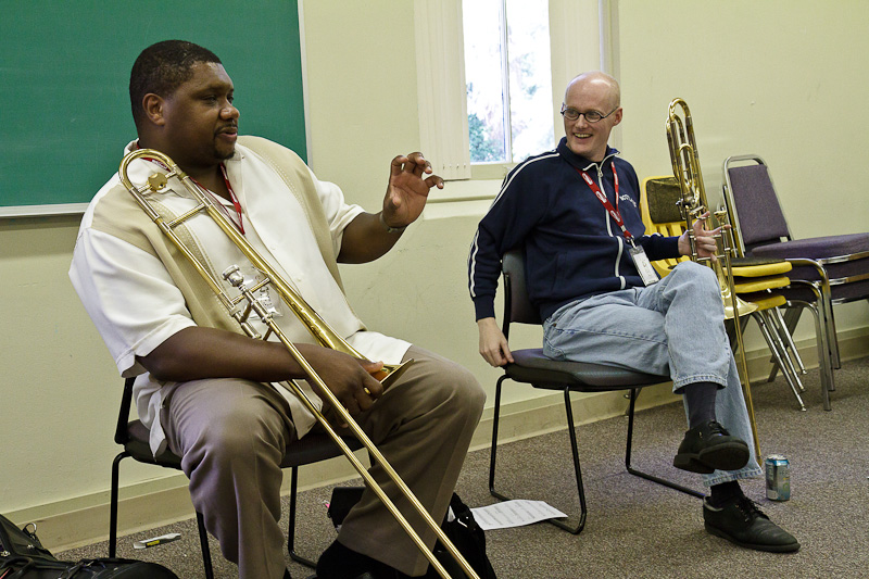 Giving a trombone clinic with Wycliffe Gordon at Centrum's Jazz Port Townsend 2010