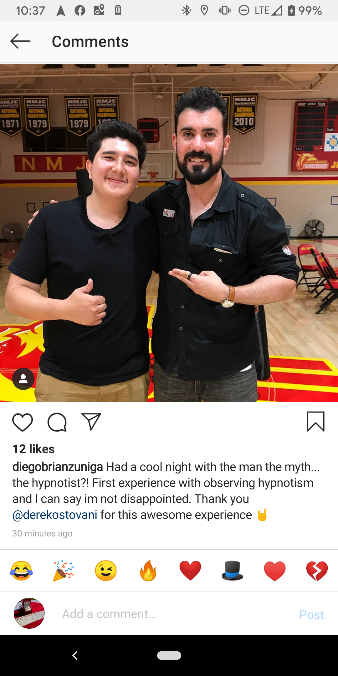 Social Media post about my show