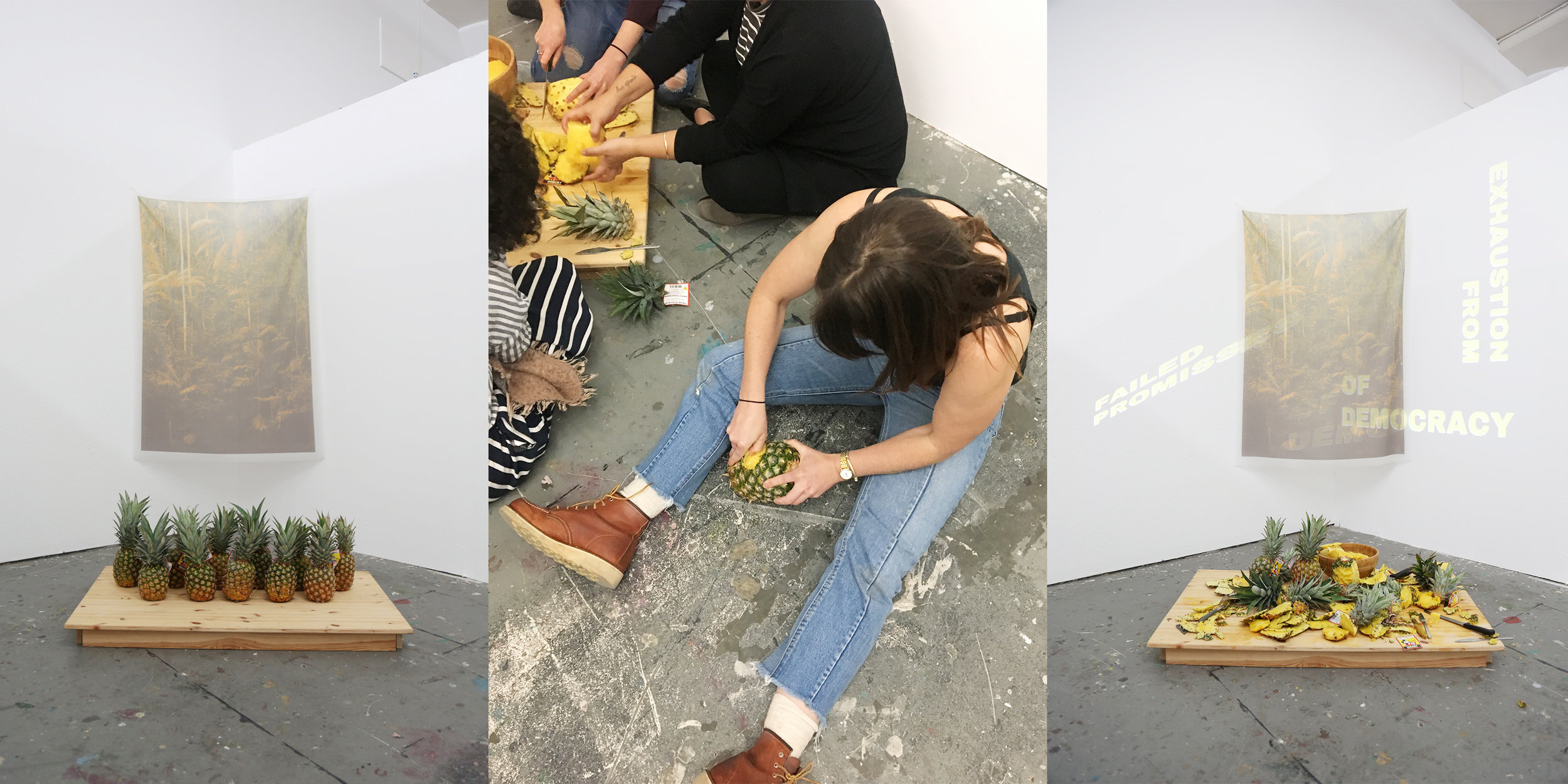 To Peel a Pineapple , 2018, Installation and participatory performance