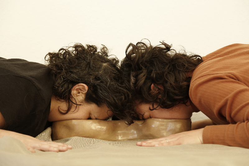 Breathe With Me I , 2019, Participatory performance with glazed ceramic