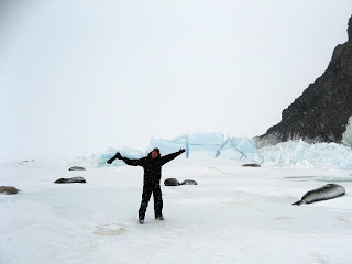Shooting Weddell seals on a bad weather day in Antarctica.