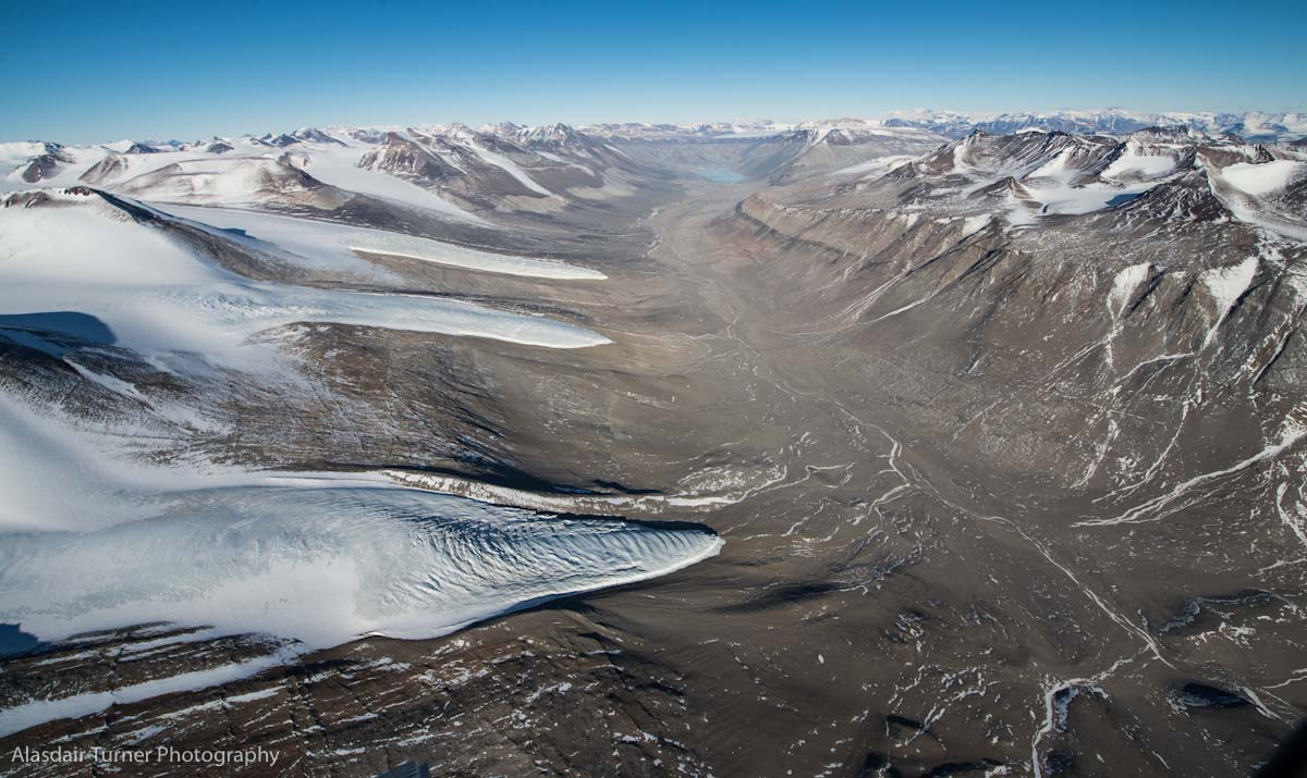 The Wright Valley, Antarctica. Shot from a Dehavilland Otter.