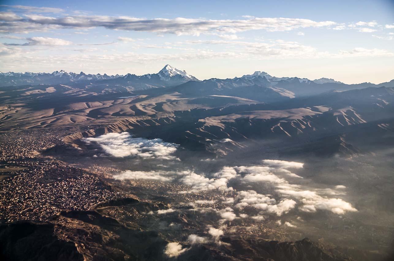 Huyana Potosi, Bolivia. Shot from a 767.