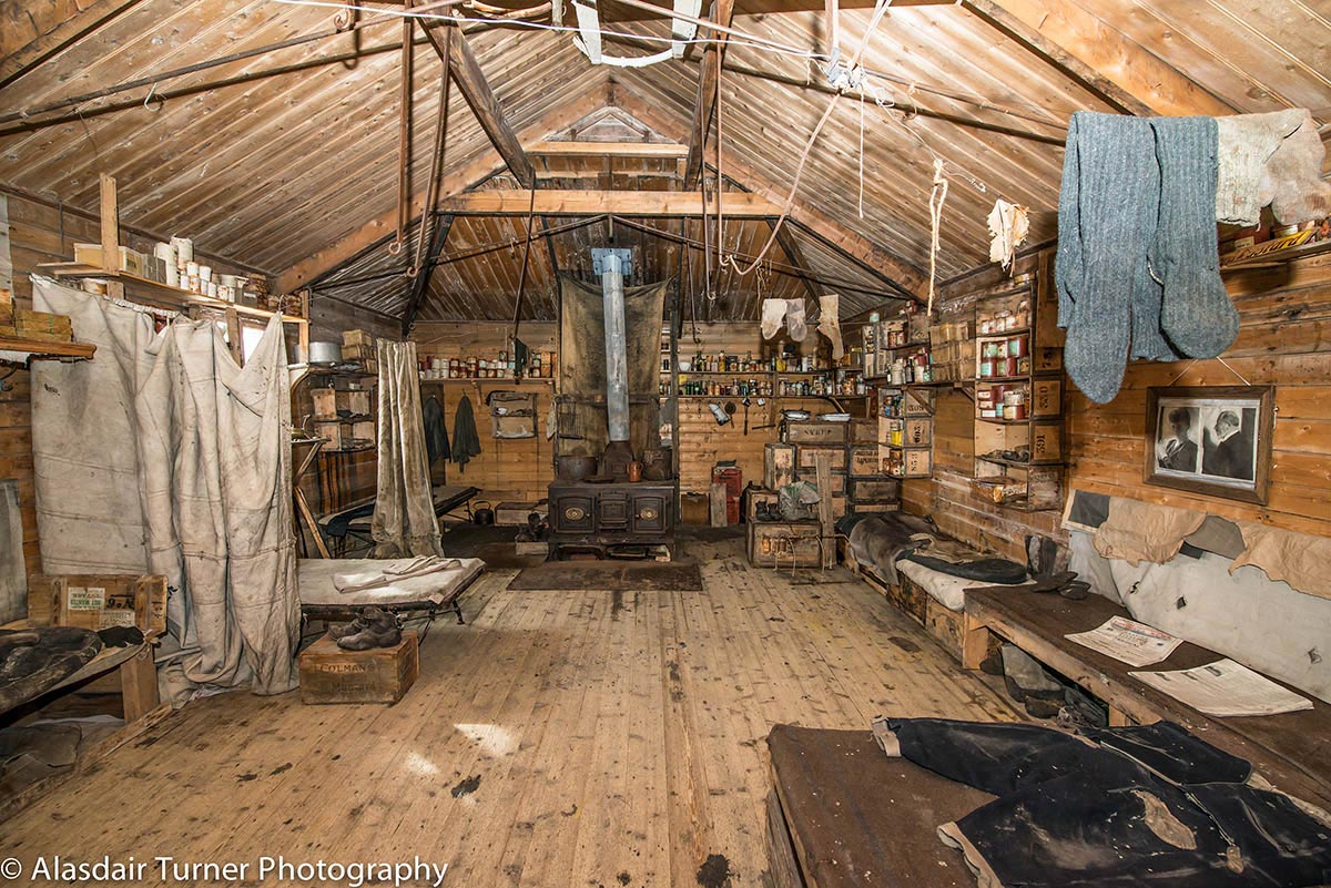 Inside Earnest Shackleton's Hut at Cape Royds, Antarctica.