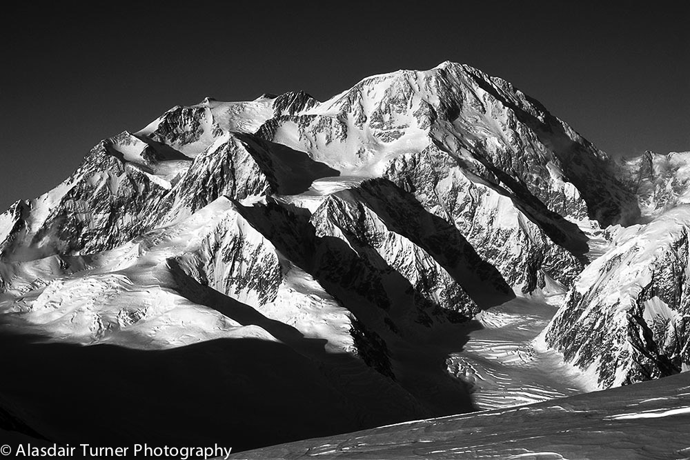 Denali from the west showing most of the West Buttress route.    This print can be purchased at  http://alasdairturner.com/order-prints/