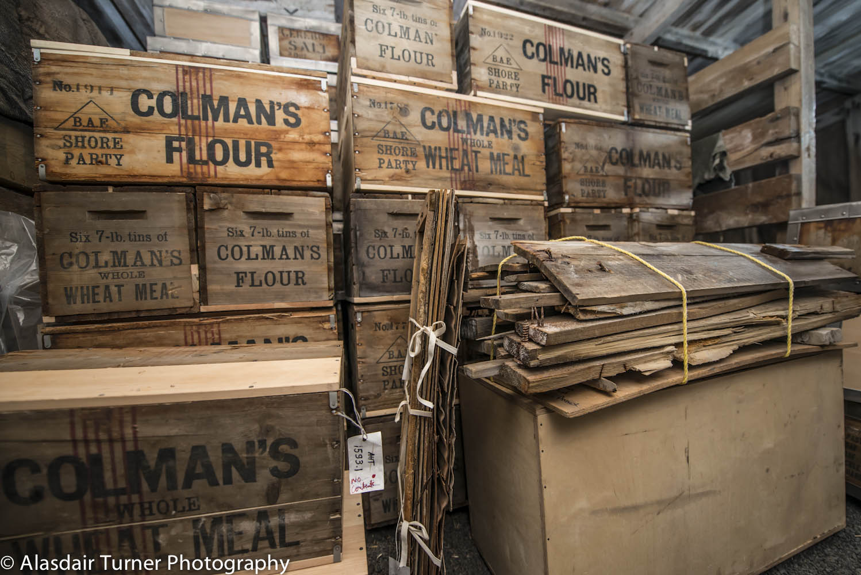 Boxes of supplies within Scott's Terra Nova hut.