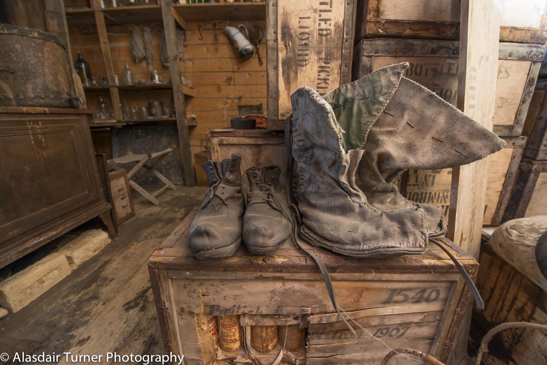 Boots inside the Nimrod hut.