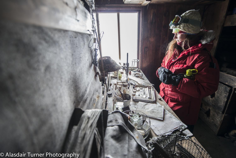 Scientific equipment inside Scott's Terra Nova hut.