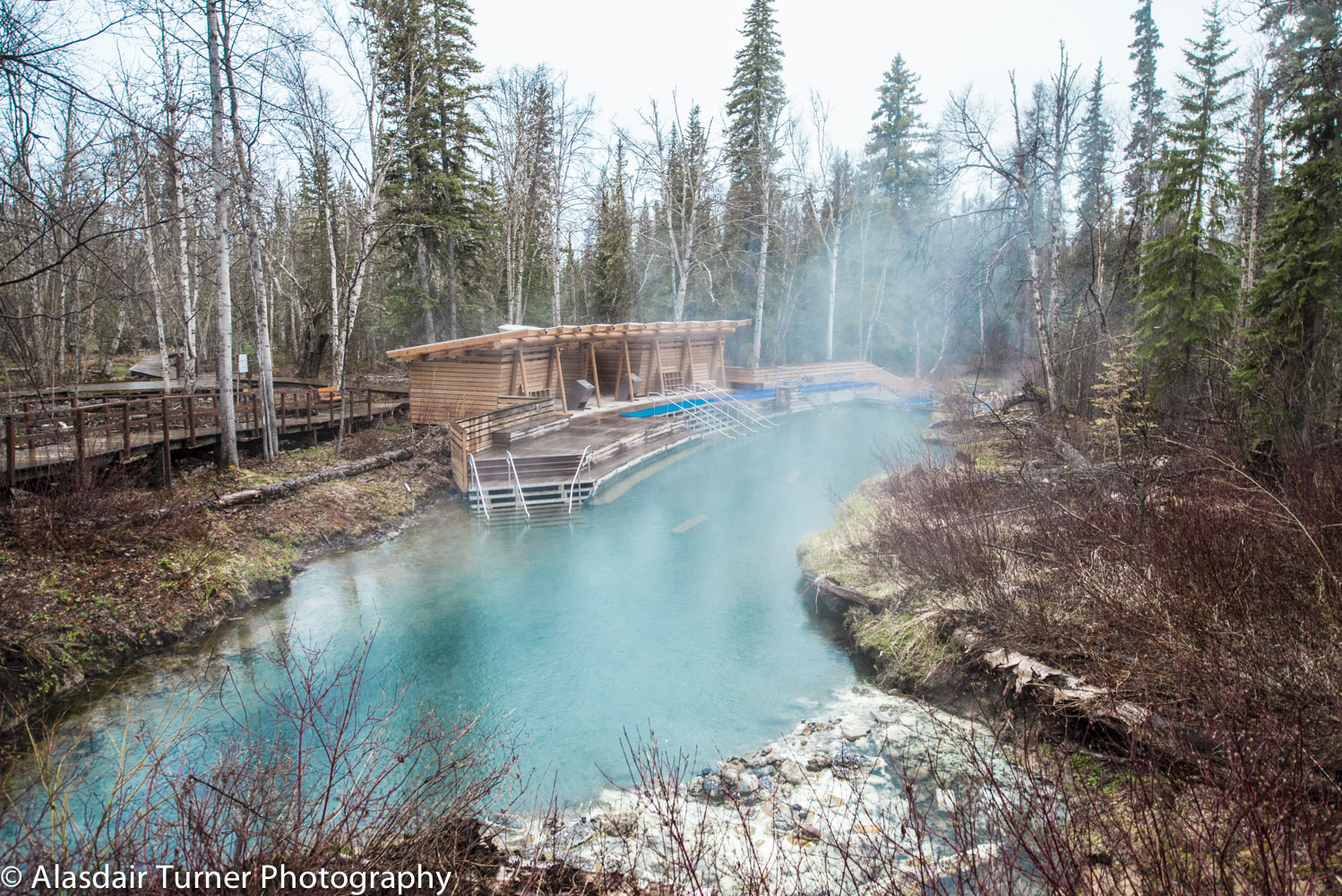 Laird Hot Springs in Northern BC. A must visit for anyone driving the highway.