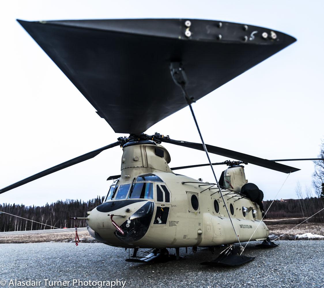 A chinook at the Talkeetna airport that was assisting Denali National Park prepare for climbing season.