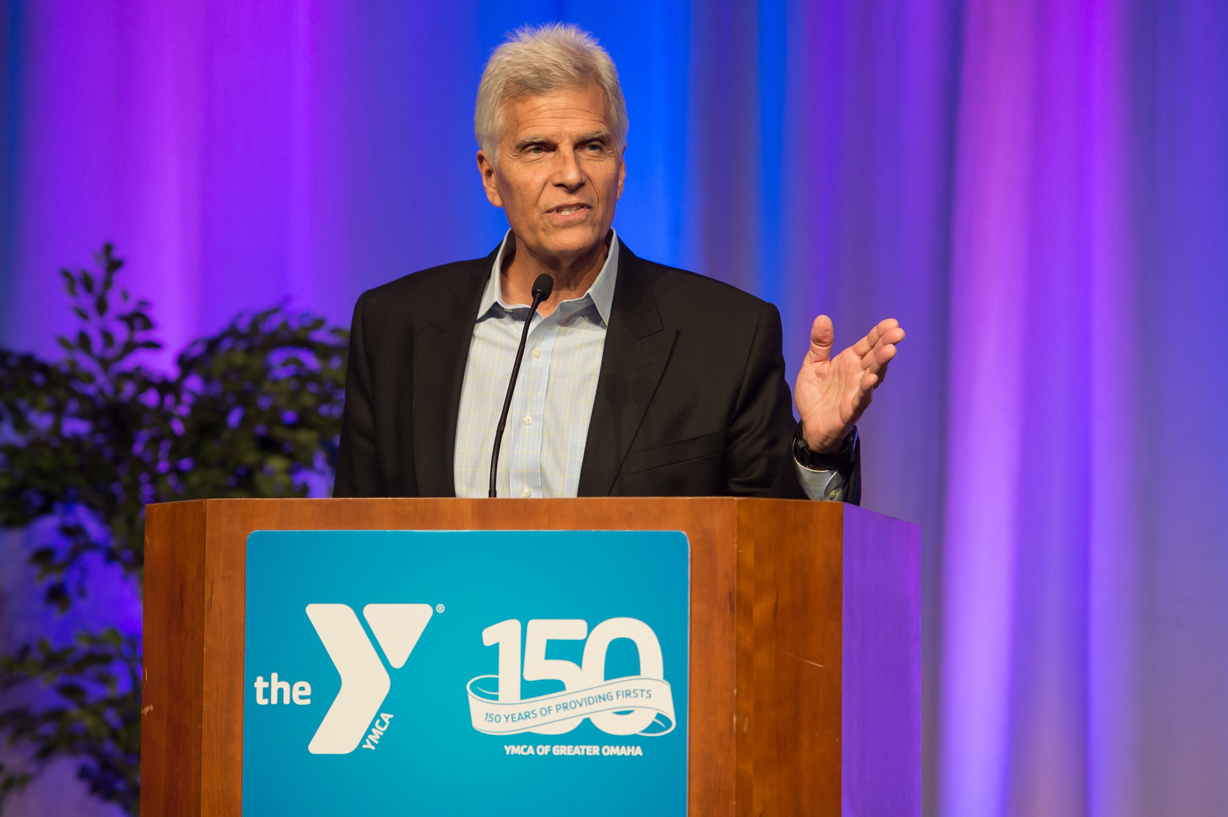 Mark Spitz speaks at the YMCA of Greater Omaha's Anniversary Gala.