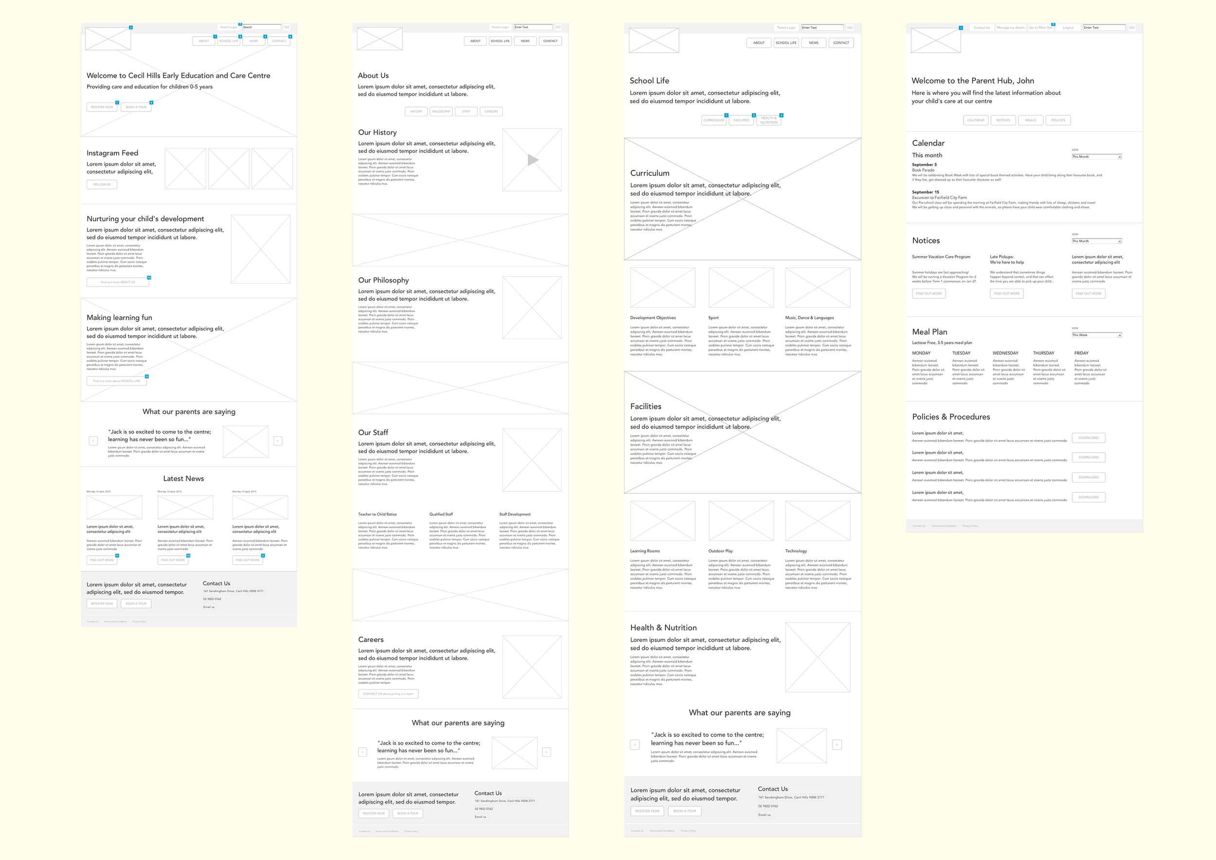 Wireframes for key pages