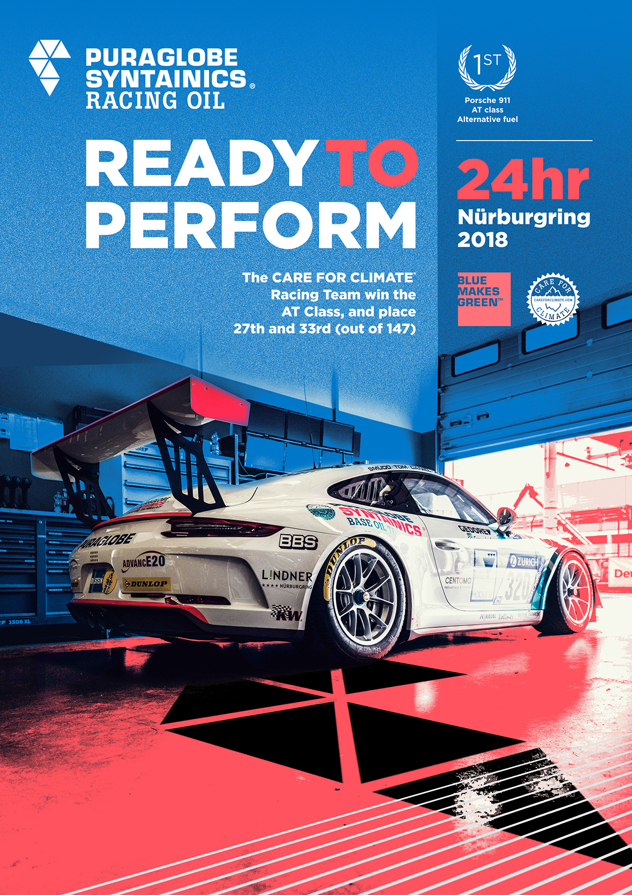 When we discovered the work of Robert Sheppard, we realized, he could be the right artist to do a celebration poster for the class victory of CARE FOR CLIMATE®'s Porsche 911 GT3 Cup.