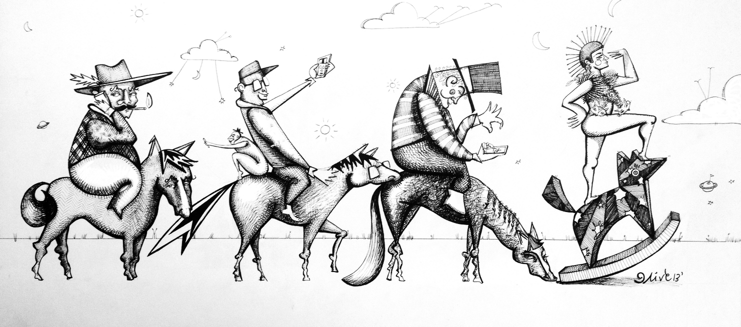 """'Hop on the Band(width) Wagon'  20"""" x 9"""" / pen & ink /SOLD"""