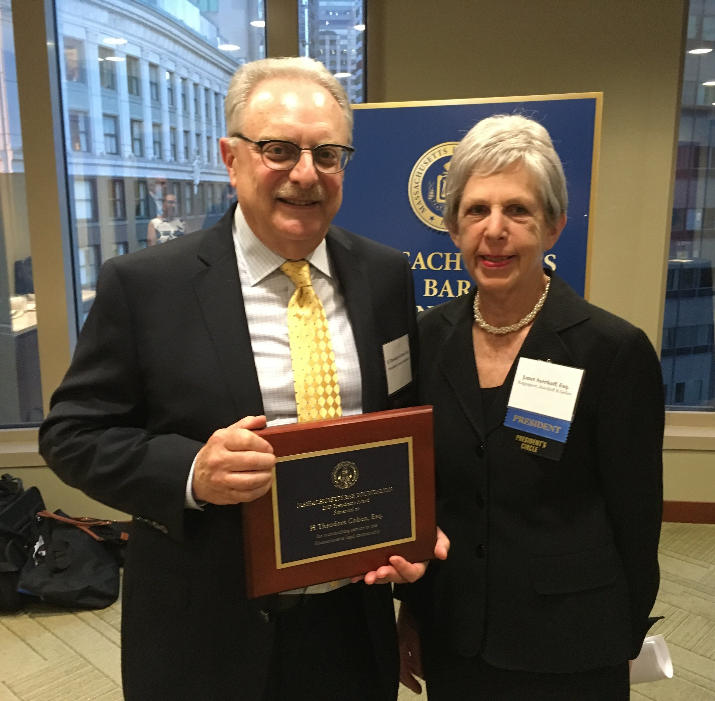 MBF President Janet Aserkoff and the 2017 President's Award Recipient, Attorney Ted Cohen.