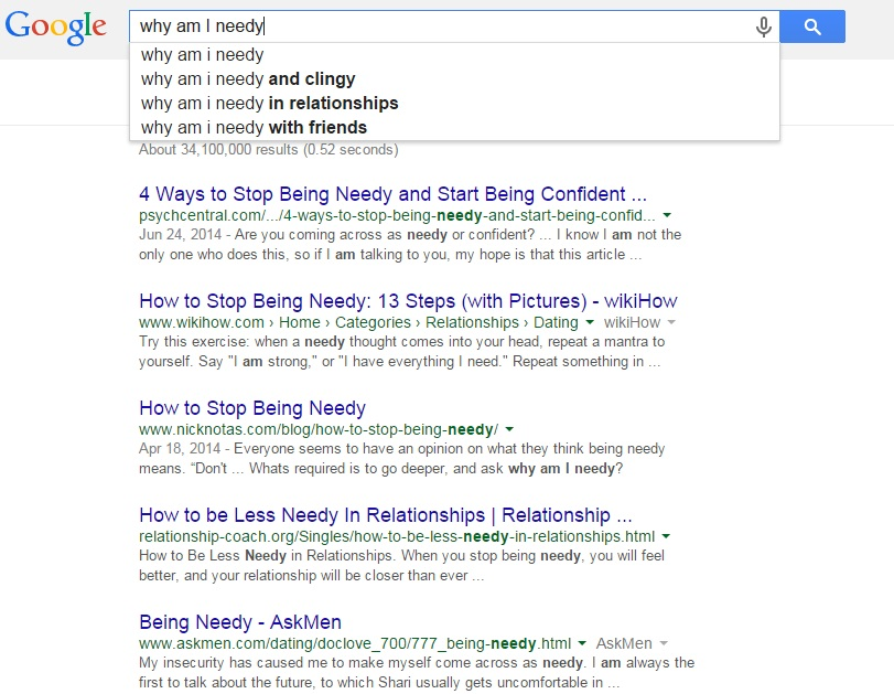 Google search results - why am I needy