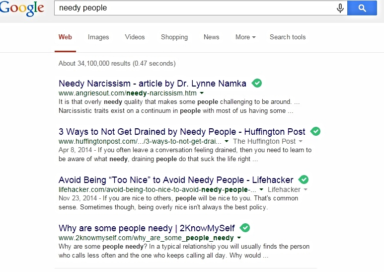 Google search results - needy people