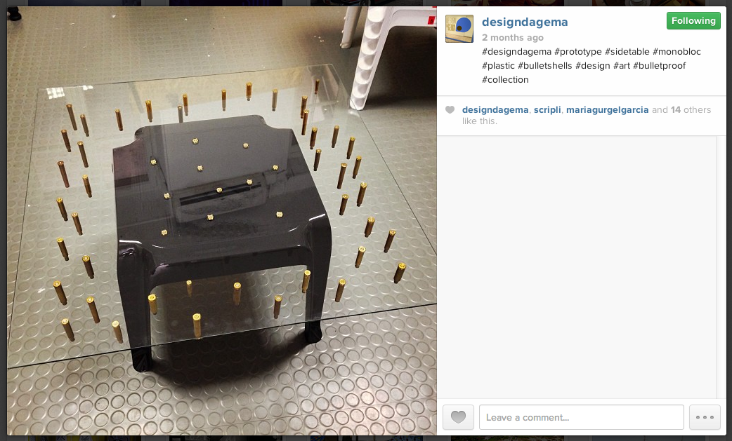 Another Stray Bullet table. Image captured from Design da Gema's Instagram account on Oct. 29, 2013.