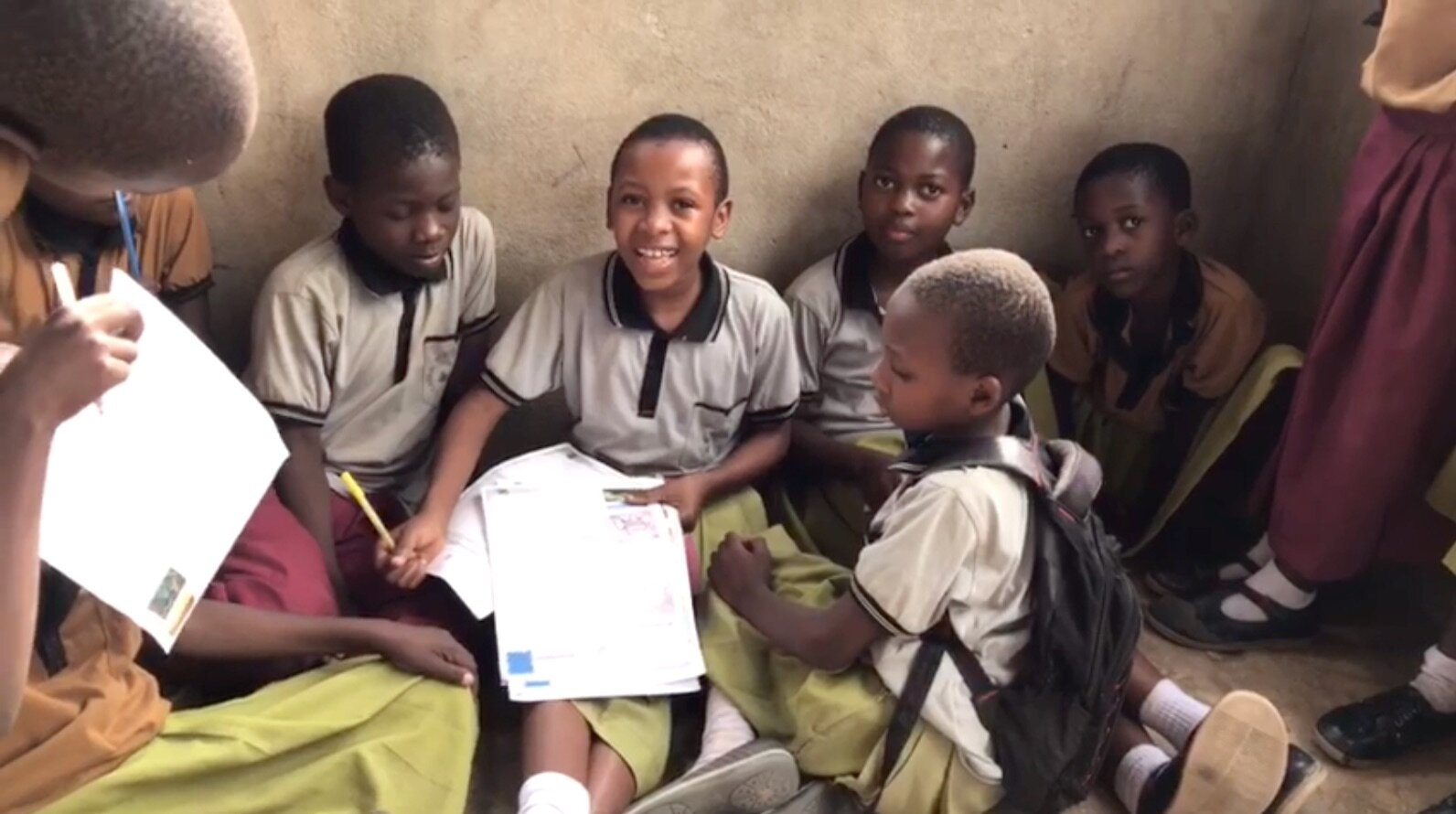 Pictured: Sabrina is smiling in the center, Agnes (to her left) is one of the children sponsored by The Robbins. The others also writing include: Salma, Shasta, Abdulazack, and Shadya.