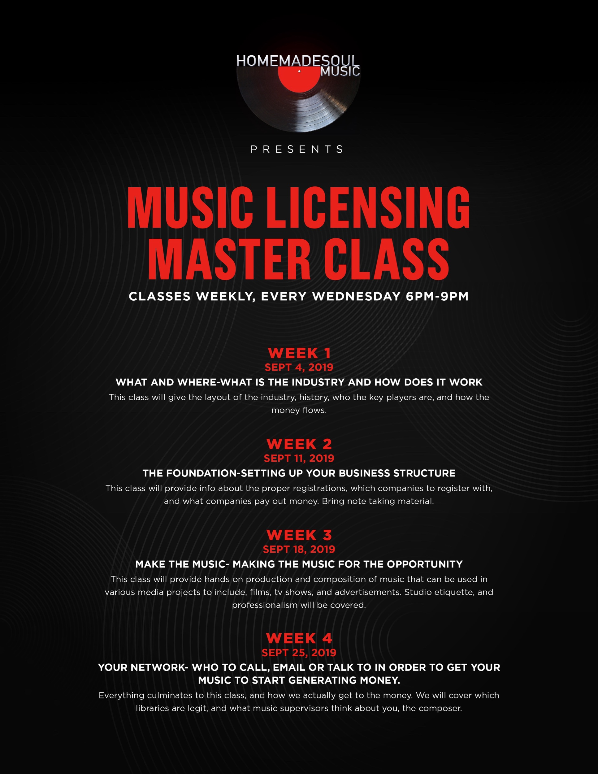 Music Licensing Master Class Details