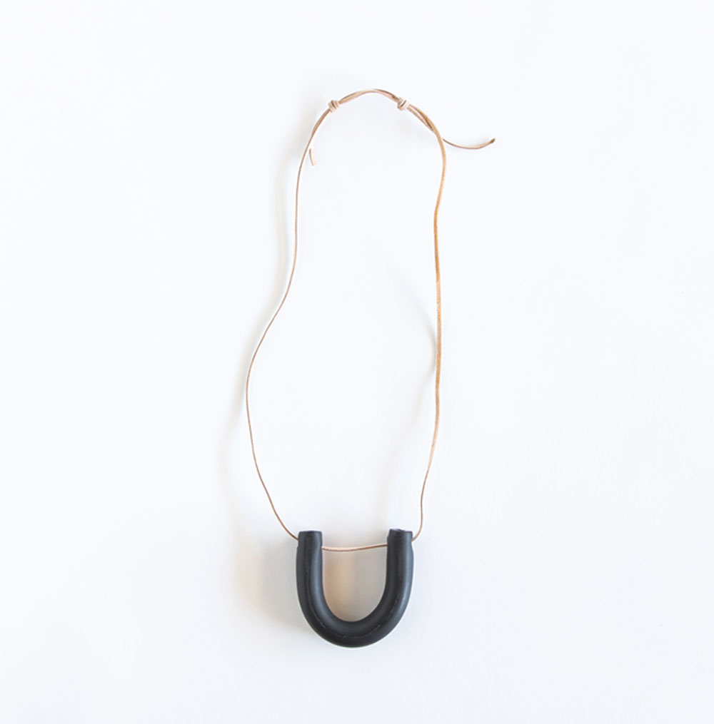 Black Horseshoe Clay Necklace - $32.00