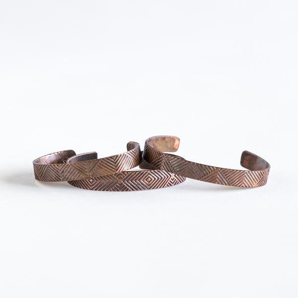 Stamped Copper Cuff - $50.00