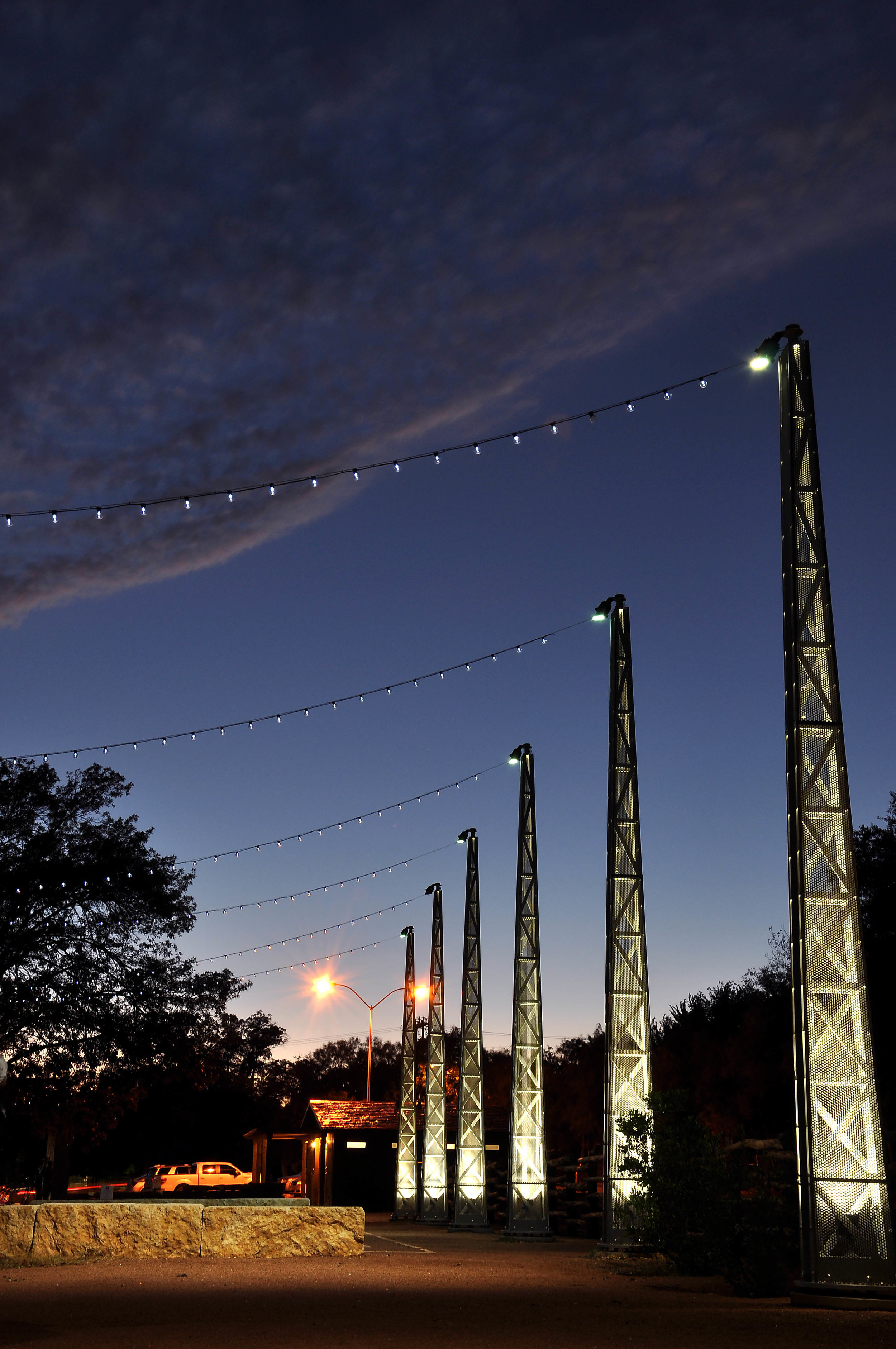 COMPLETED LIGHT TOWERS AT THE BOSQUE