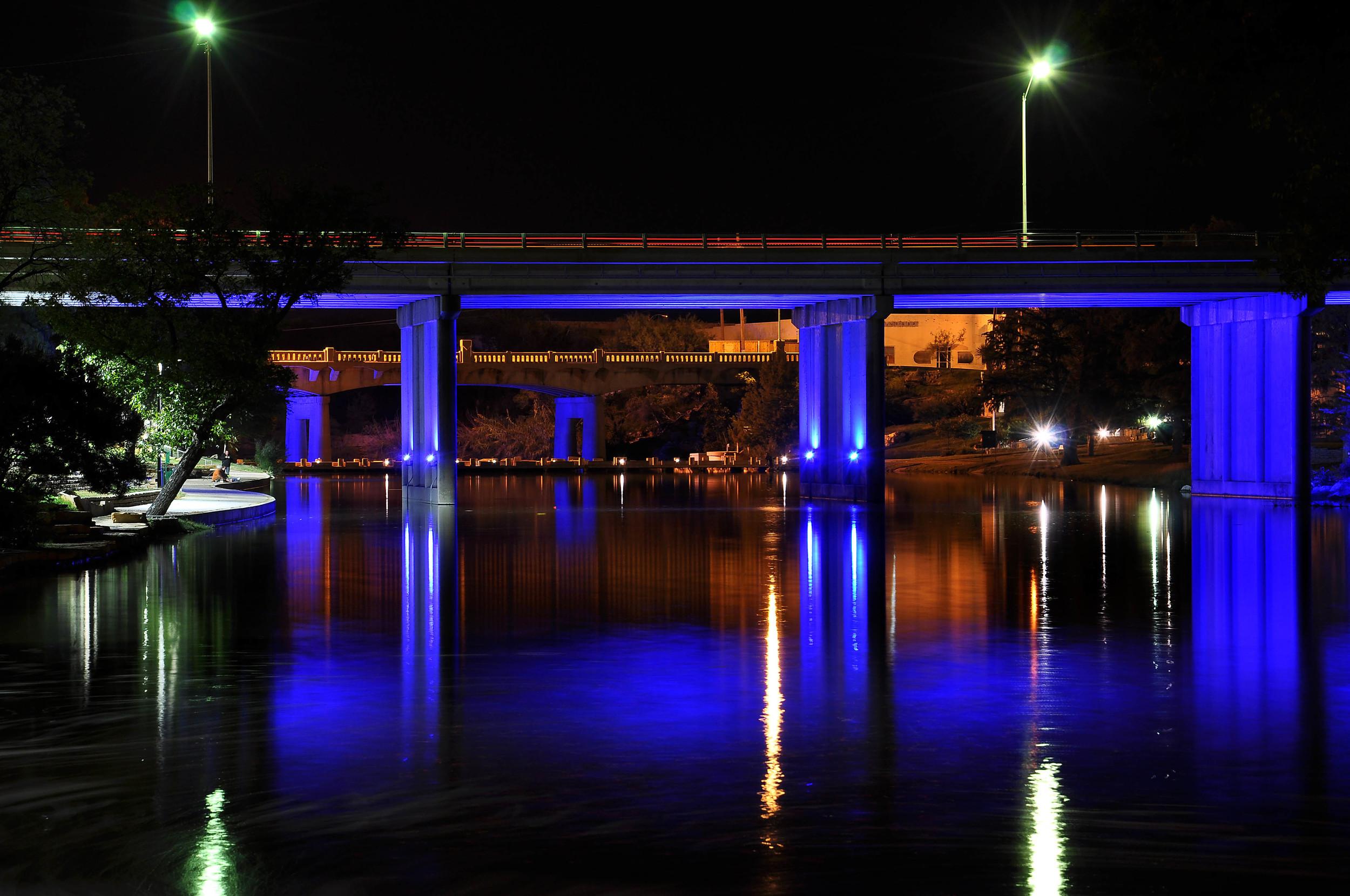 LED BRIDGE UPLIGHTING AT NIGHT