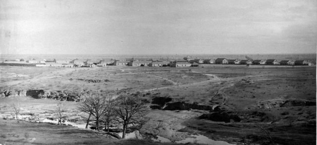 EARLY VIEW OF FORT CONCHO WITH CONCHO RIVER IN FOREGROUND