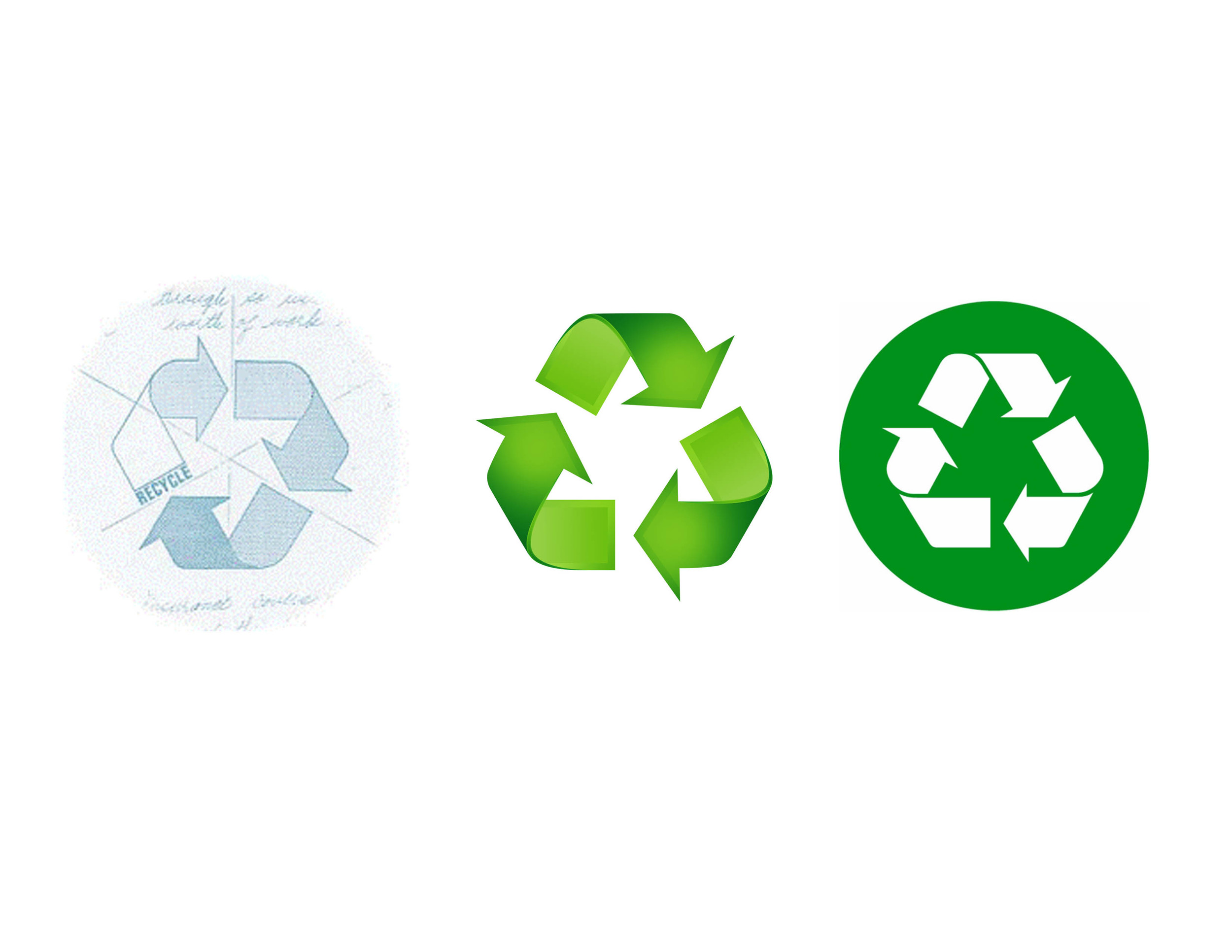 The first image is Anderson's original symbol, and the subsequent images are used world-wide to represent (L) a product can be recycled and (R) a product was made from recycled materials.