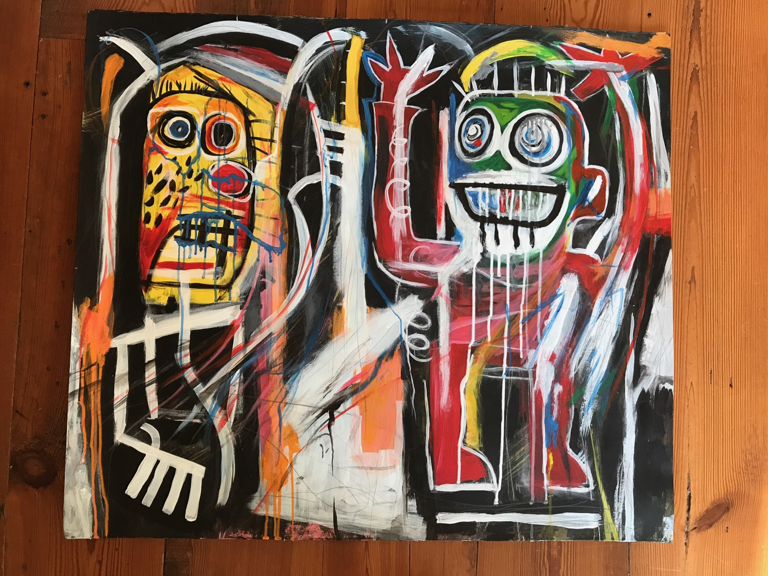 "After Jean-Michel Basquiat (1960-1988), ""Dustheads"" 1982  Painted by Susan Kinney 2017  Acrylic, Pencil & Chalk on Paper"