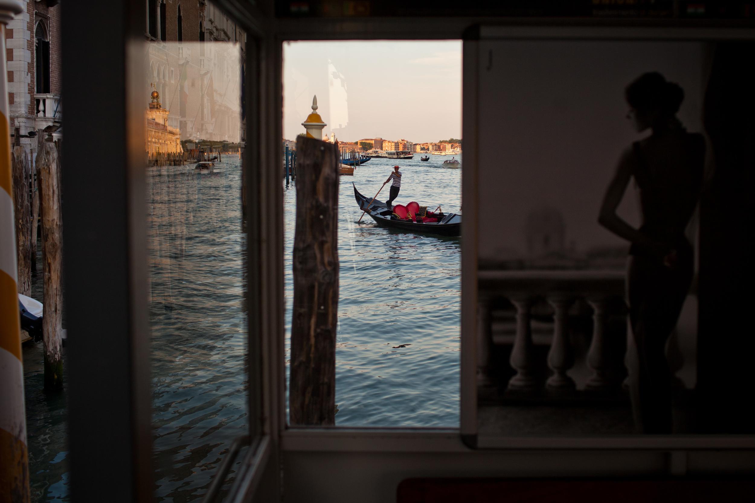 A gondolier in Venice, Italy.