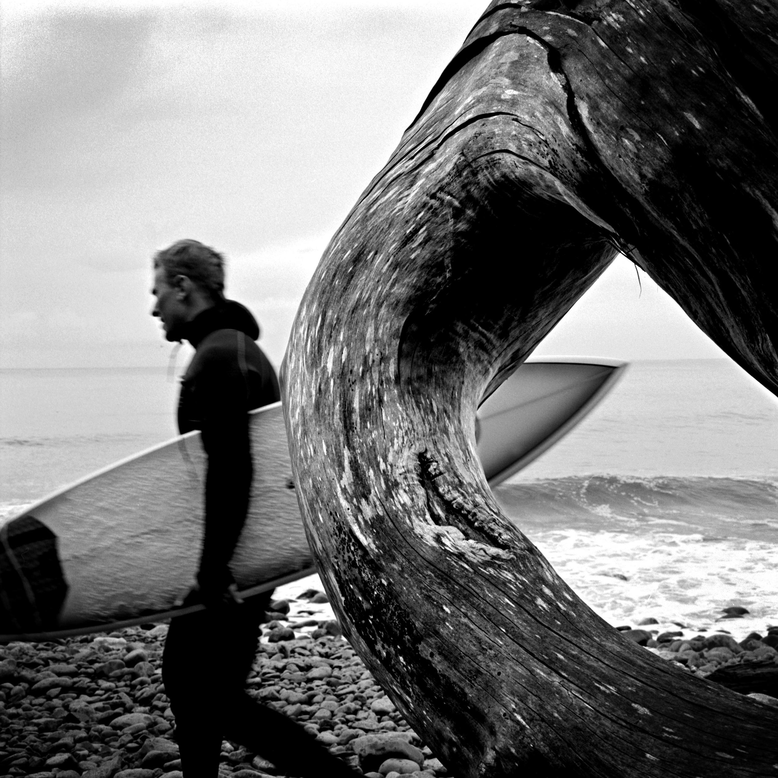 Winter surfing along the Oregon coast.