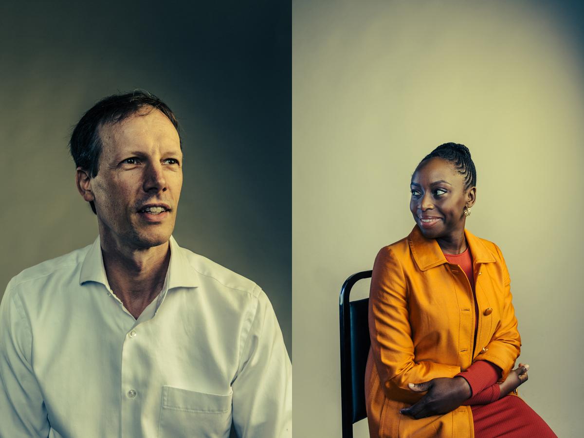 Square co-founder Jim McKelvey and author Chimamanda Ngozi Adichie at theWashington Ideas Forum.