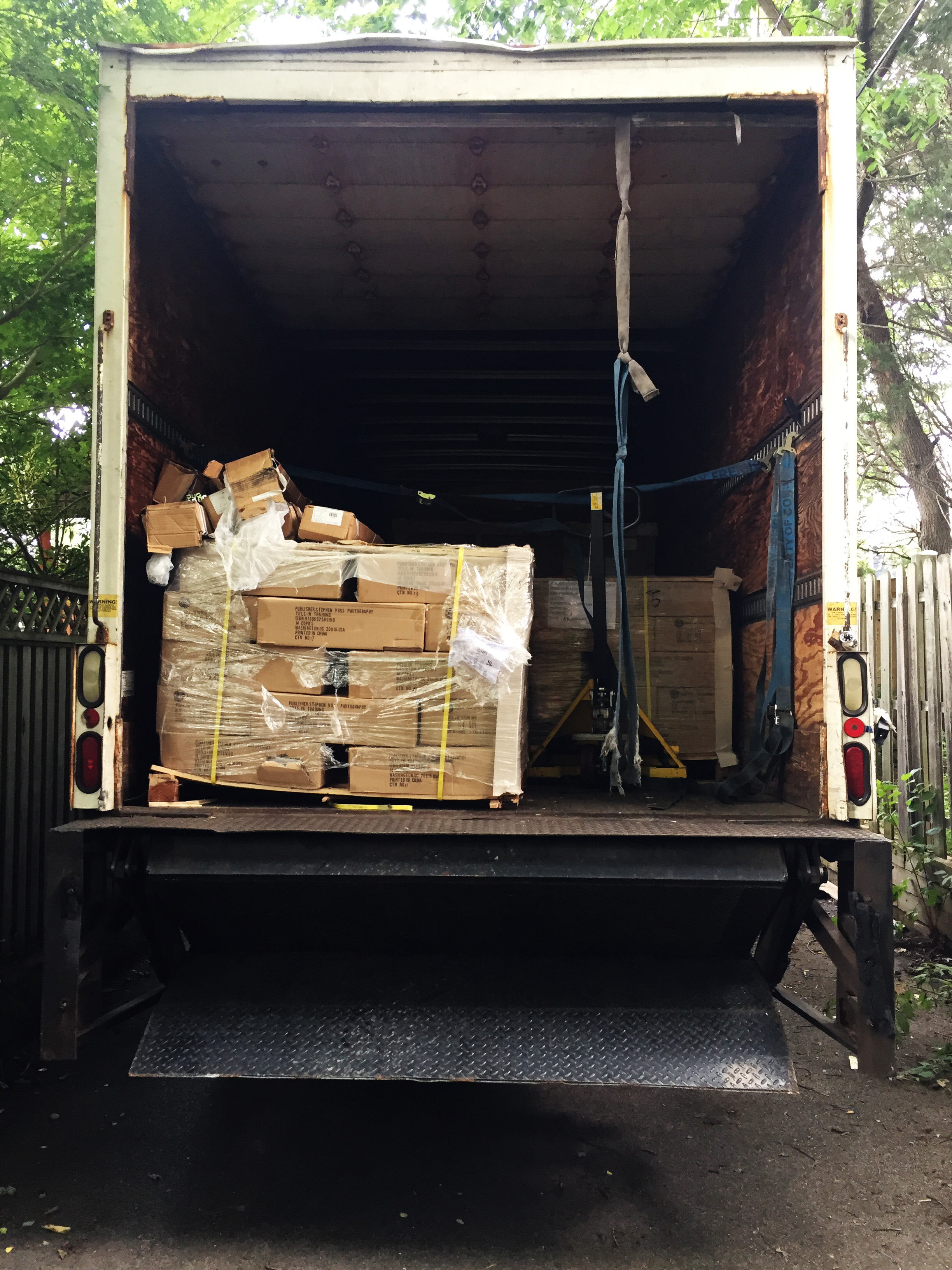 1800 books being delivered on three pallets.